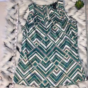White House Black Market Green Geometric Like Top